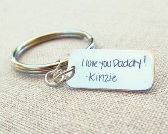 Father's Day Keychain · Personalized Handwriting Mens Keychain · Father Gift · Silver Personalized Key Ring · Handwritten Gift