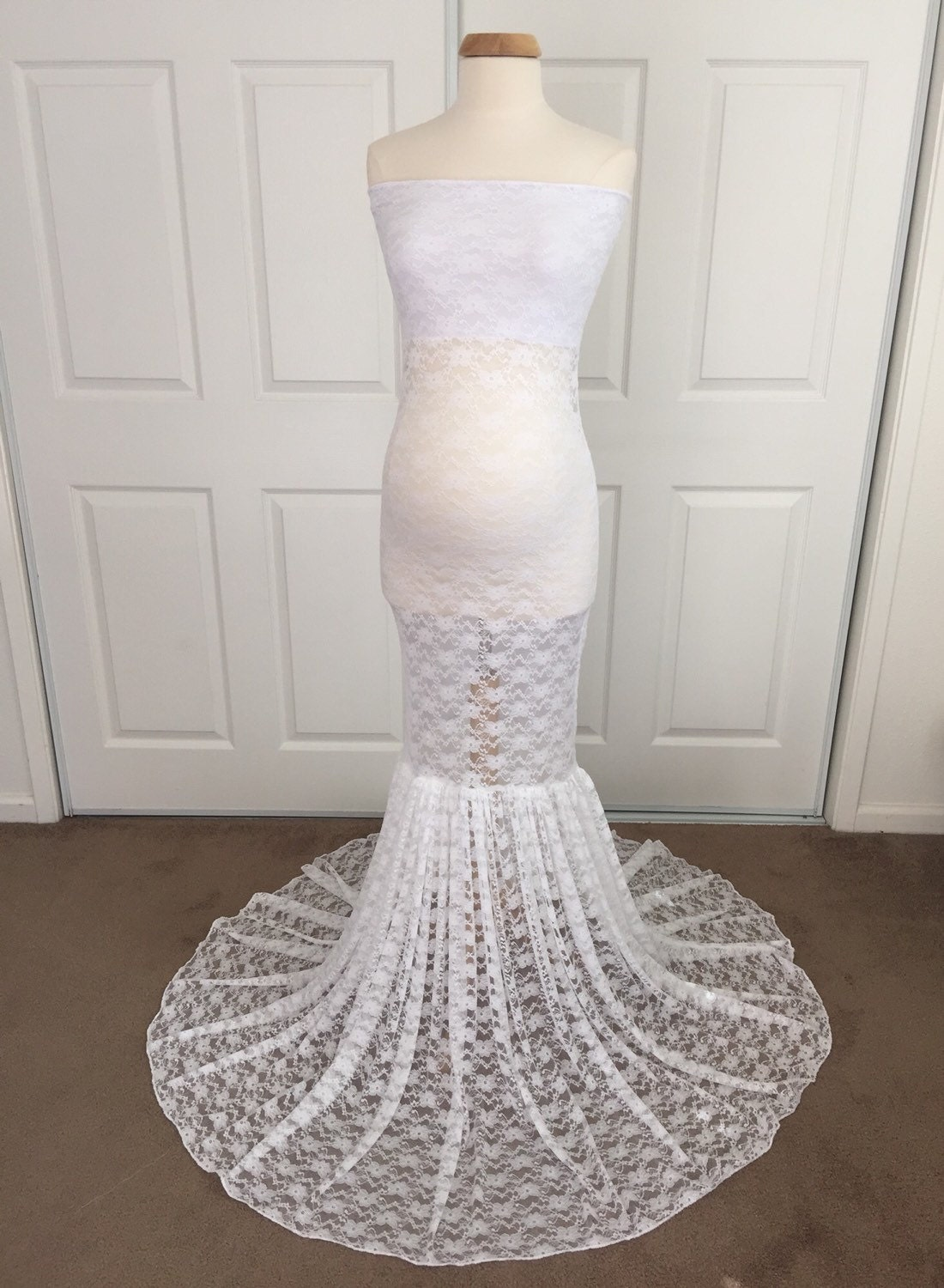 White lace slim fit maternity dressmermaid maternity zoom ombrellifo Images