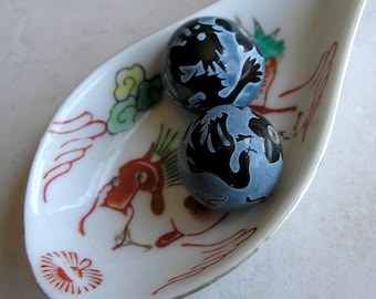 Dragon Phoenix Beads Black Agate Large Etched Round Gemstone For Beaded Jewelry Making Metaphysical Healing Stones
