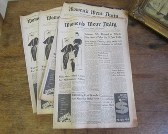 Reserved for Tay. Women's Wear Daily Newspaper 1959. Adverts and Fashion pieces. Ephemera. Collage. Scrapping.
