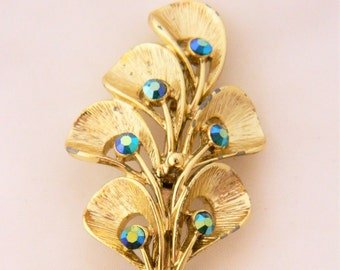 Vintage Leaf Brooch, Leaf Pin, 50s Pin, Blue Rhinestones, Gold Tone, Mid Century, Estate Jewelry, Vintage Jewelry