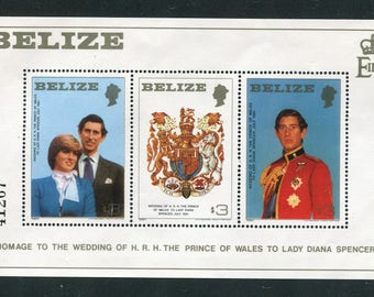 Princess Diana Royal Wedding Souvenir Sheet /Unused Issued  in Belize