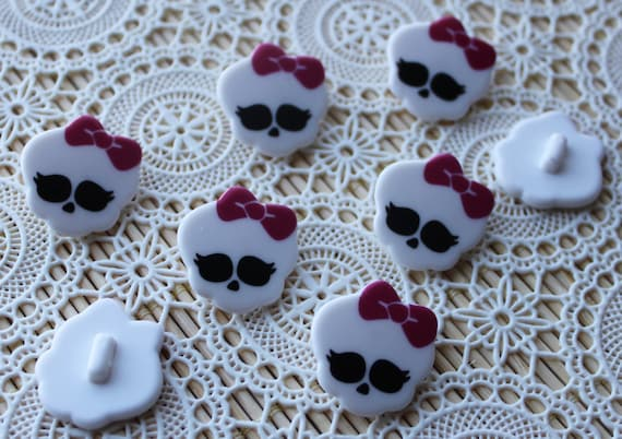 8 pieces. Shank Back Resin Cabochons 23mm Skull with BowButtons-Little Laser Lab Wood and Acrylic Products
