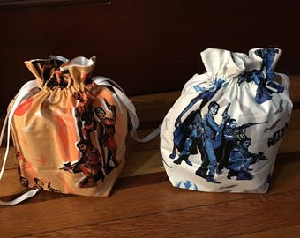 Star Wars Rogue One themed medium fully-lined cotton drawstring knitting project bag or dice bag