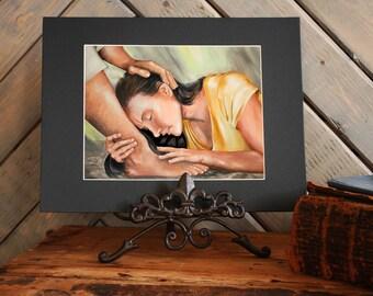 At his Feet Print Acrylic Painting