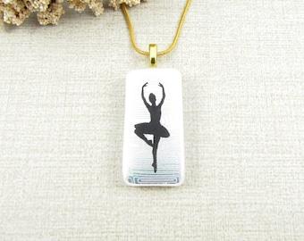 Ballet Pendant - Dichroic Glass Ballet Pendant - Dancer Silhouette on White Dichroic Glass - Handmade Dancer Jewelry Dancer on Point Pendant