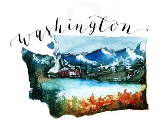 WASHINGTON State Map Art Print,Art print, Christmas Gift, Watercolor Print, State Art, Map Art, Wall Art, Home Decor, Travel, Calligraphy
