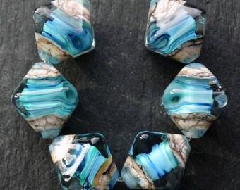 Lampwork Crystals (6) Encased Ocean Wave