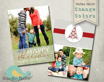 Christmas Card PHOTOSHOP TEMPLATE - Family Christmas Card 96