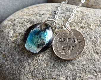 Dichroic Teeny Glass Pendant Boro Lampwork Stamped Coin Necklace - Dream Big