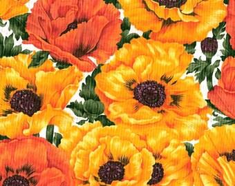 Tissu coton patchwork Larges coquelicots jaunes et orangés