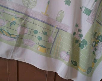 Vintage Tablecloth Shabby Cottage Kitchen Veggies Vegetables Cooking Country Farmhouse Woven Textured  46 X 52
