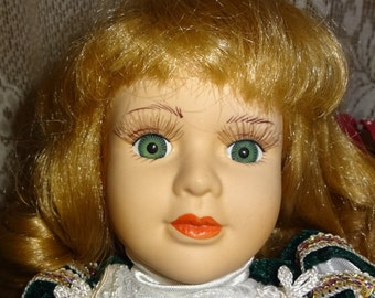 17 Inch Porcelain Doll with Long Blonde Curls