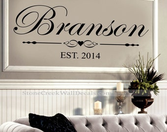 Family Wall Decal  Name Wall Decal  N019 Family Established Sign  Personalized Family Established Wall Decal  Wedding Decor Wall Decal