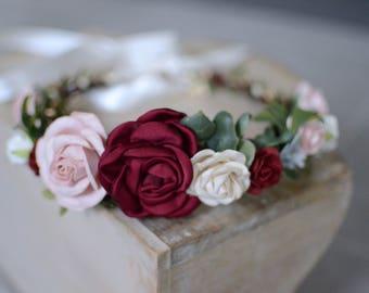 Burgundy blush flower crown, flower crown, fall headband,floral crown, christmas headband ,bridal boho wedding crown,maternity crown