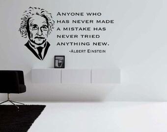 Albert Einstein Vinyl Wall Decal Quote