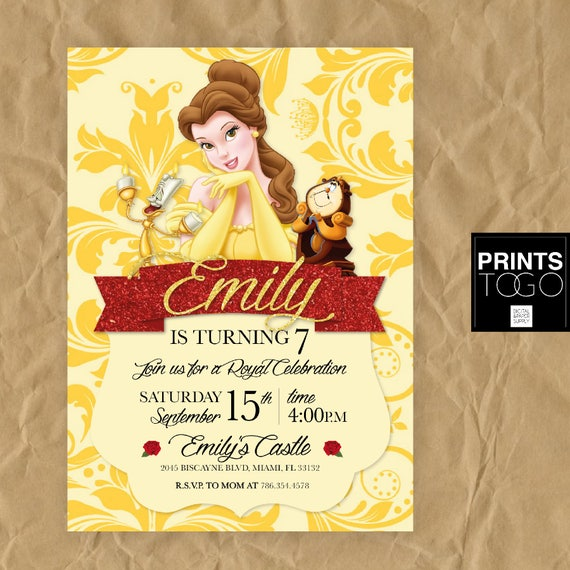 Princess belle invitation princess party invitation princess like this item filmwisefo Images
