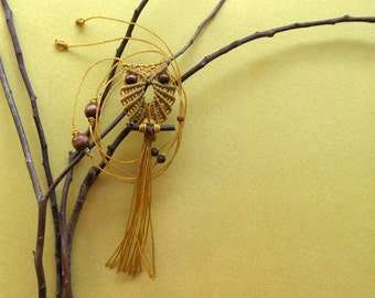 Citrine Yellow Macrame Owl Necklace