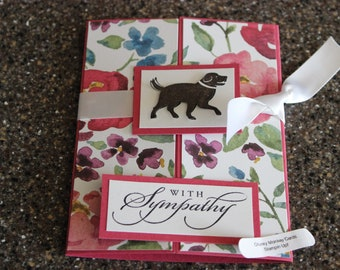 Stampin Up Homemade Greeting Card Dog With Sympathy Card 7051