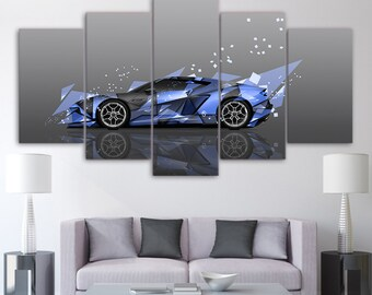 Modern Painting Picture Decoration 5 Pieces Sports Car Canvas Art Wall Decor For Living Room Printed On Canvas Wall Picture