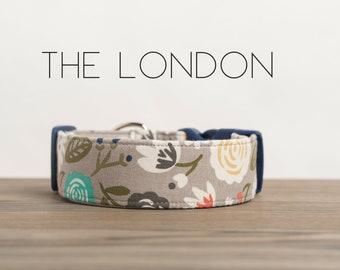 "Modern Grey Vintage Floral Inspired Dog Collar ""The London"""