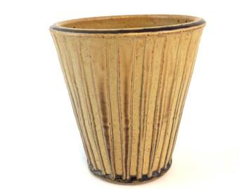 Handmade Pottery Utensil Holder, Ceramic Spoon Holder, Golden- Yellow