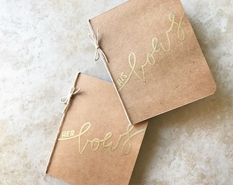 """Wedding Vow Books / Vow Books / Set of 2 / Handmade / Embossed / """"His Vows & Her Vows"""" Calligraphy"""