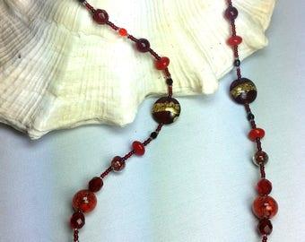 murano glass necklace, red color, Gold leaf 24 kt, Gustav Klimt, lampwork, handmade