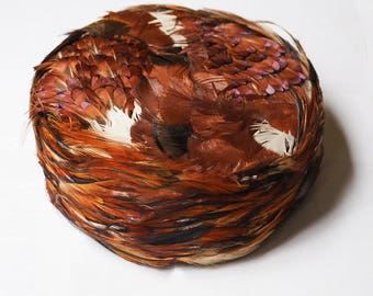 Vintage Sophisticated Pheasant Feather Brown Pill Box Hat
