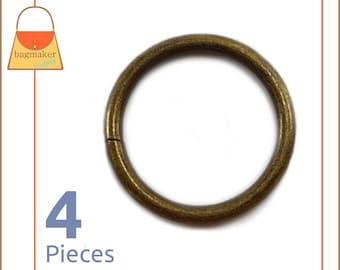 """1.25 Inch Antique Brass / Bronze O Rings, 4 Piece Pack, Handbag Purse Bag Making Hardware Supplies, 1.25"""", 1-1/4 Inch, 1-1/4"""", RNG-AA168"""