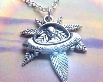 Alien UFO Pot leaf necklace 420