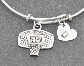 Basketball Bangle, Sterling Silver Bangle, Basketball Bracelet, Bridesmaid Gift, Personalized Bracelet, Initial Bracelet, Bridesmaid Gift