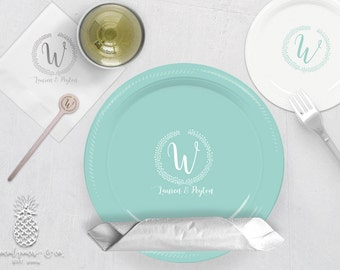 Monogram Wedding Party Plates, Napkins or Cups