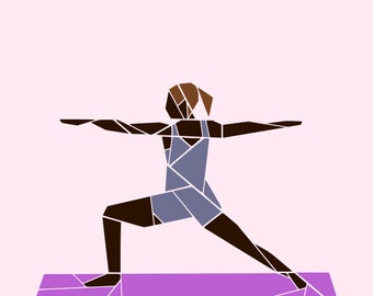 Warrior II yoga pose paper piecing pattern - PDF pattern download hobby quilt pattern - make your own yoga gift - gymnast sport quilt block