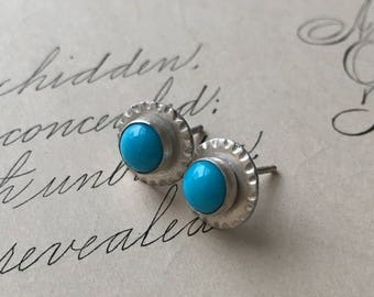 Turquoise Stud Earrings, Silver and Turquoise, Small Turquoise Earrings, Birthstone Jewelry