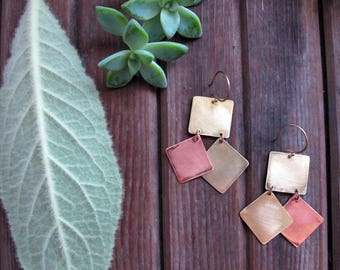 Avenue Earrings - Geometric Mixed Metal Earrings - Copper and Brass Earrings - Artisan Tangleweeds Jewelry