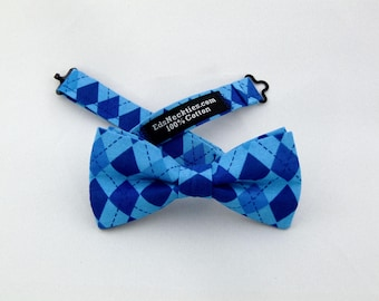 Blue Bow Tie, Blue Bowtie, Mens Bow Tie, Mens Bowtie, Diamond, Wedding, Fathers Day, Birthday, Gift, Father, Navy, Contemporary, Prom, Dad