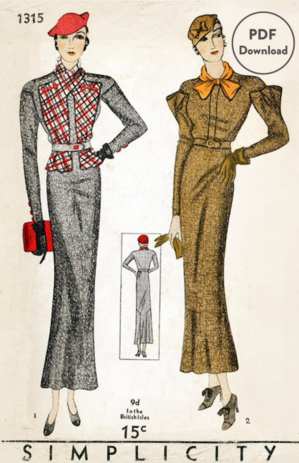 1930s 30s Vintage Sewing Pattern Suit Dress Jacket Blouse Two