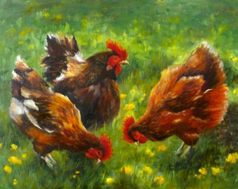 THE FRENCH HENS original oil painting 11x14 by Alexandra Kopp