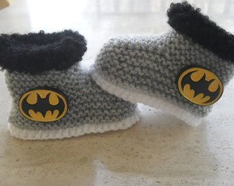Knitted Baby Boy Booties, Baby Booties, Baby Boy Boots, Baby Batman  Size 3 to 6 Months Ready Made
