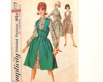 Vintage 60's Simplicity Misses One Piece Dress and Jumper Sewing Pattern #5620 - Size 12 (Bust 32)