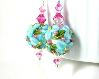 Floral Earrings, Blue Pink White Flower Earrings, Gift for Gardener, Cottage Chic Jewelry Nature Earrings, Lampwork Earrings Pretty Earrings