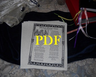Macbeth Witches Chant PDF -- Book of Shadows -- BOS page