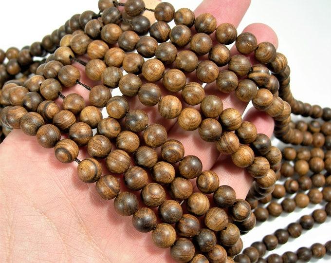 Sandalwood  - 8 mm round beads - full strand - 48 beads - Pure natural Sandalwood - RFG1584