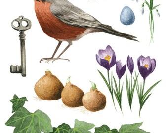 Fine Art Print of Original Watercolor Painting - The Secret Garden
