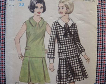 vintage 1960s Butterick sewing pattern 3437 overblouse and skirt size 12