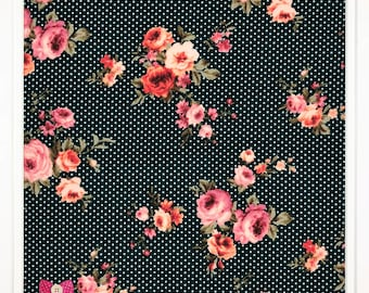 Double Brushed Poly Spandex KNIT Fabric, 4-way Stretch, Bow Button Fabrics - Dorothy Emerald Polka Dot Floral