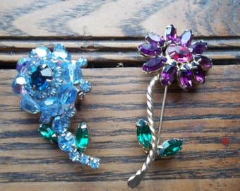 2 Adorable Colorful Rhinestone Flower Brooches