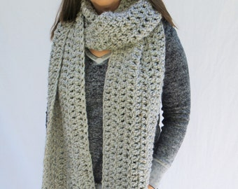 Scarf, Large blanket scarf, oversized chunky scarf, winter scarf / The Lewis Scarf - Grey Marble