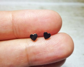 Tiny Black Heart Stud Earrings, Sterling Silver Heart Earrings, Heart Stud Earrings